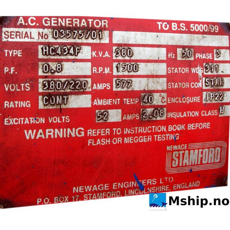 Cummins VT-12-635GS generator set 380 kWA