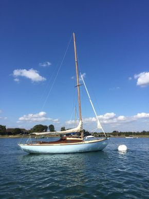 At mooring, before new bowsprit fitted