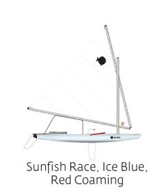 Sunfish Race, Ice Blue, Red Coaming