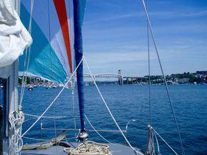 Under cruising chute approaching the Saltash bridges