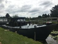 40 ft x 11ft 6, Steel Motor Cruiser. Built by Thorne Boat Yard in 1979