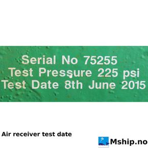 Air receiver  last pessure test