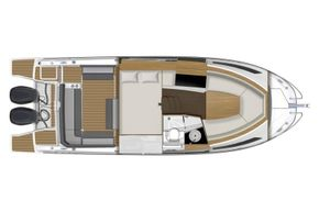Jeanneau Cap Camarat 9.0 WA (sports boat / cruiser) - diagram of saloon and cabins