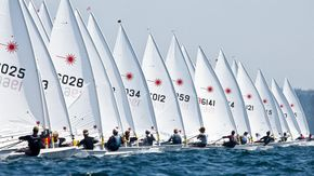 Laser Dinghy Boats on Start Line
