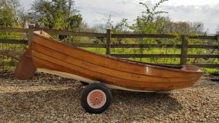 Classic wooden clinker-built rowing boat