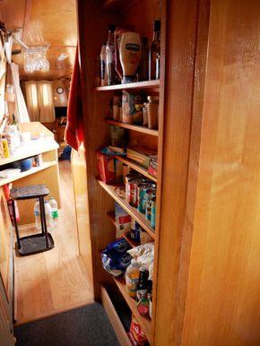 Shelves by bathroom