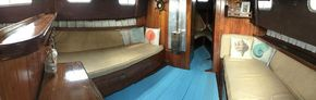 Seating area/double berth/charcoal burner