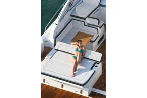 Jeanneau Leader 36 diesel sports cruiser - aft sun lounger