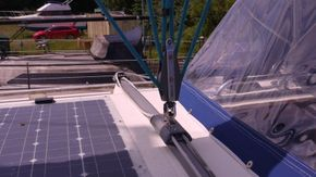 mainsheet track and solar panel