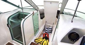 Under deck storage on the bow