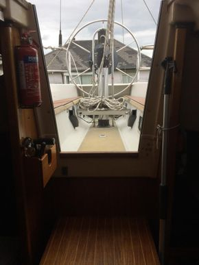Looking out from saloon to wheel steering helm